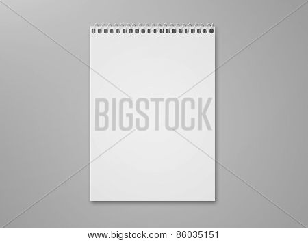 Blank Sketch Pad On Gray