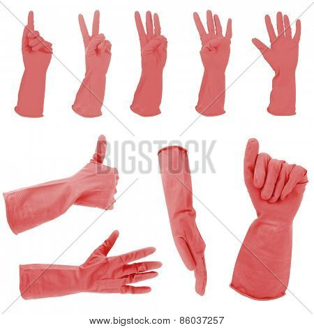 Red gloves gestures, isolated on white
