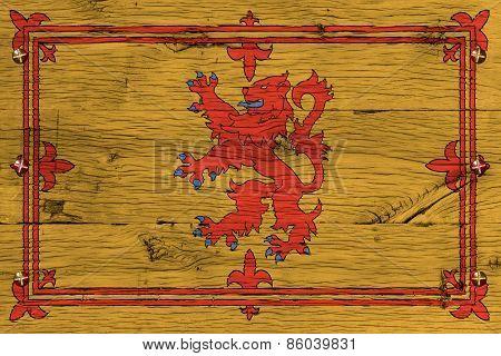 Royal Standard Of Scotland Flag Painted Old Oak Wood Fastened