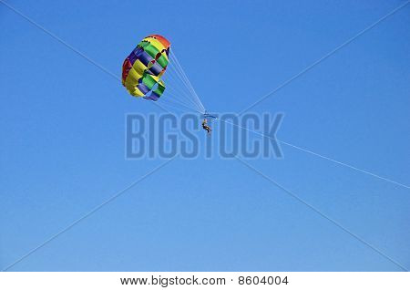 Nice Couple Parasailing Over Blue Sky