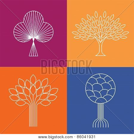 Abstract Organic Tree Line Icons Logo Vectors - Eco & Bio Design Element Badges