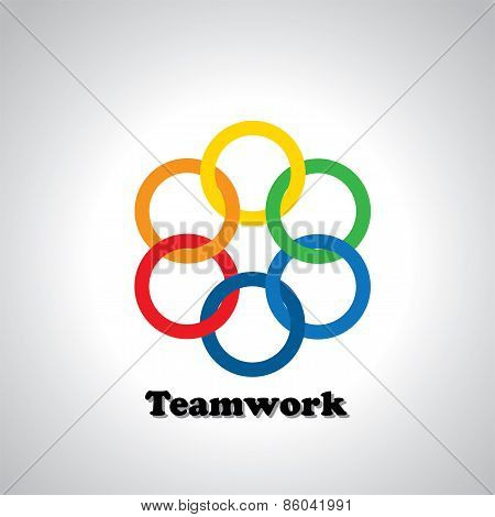 Vector Icon Colorful Rings Interlocked - Teamwork Concept
