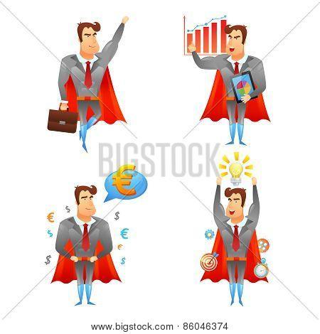 Superhero businessmen character icons set