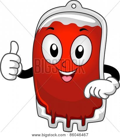 Mascot Illustration of a Blood Bag Giving a Thumbs Up