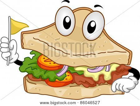 Mascot Illustration of a Clubhouse Sandwich Holding a Toothpick Flag