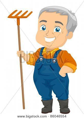 Illustration of a Senior Citizen Holding a Rake