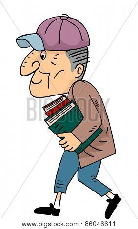 Illustration of a Hunched Senior Citizen Carrying Books