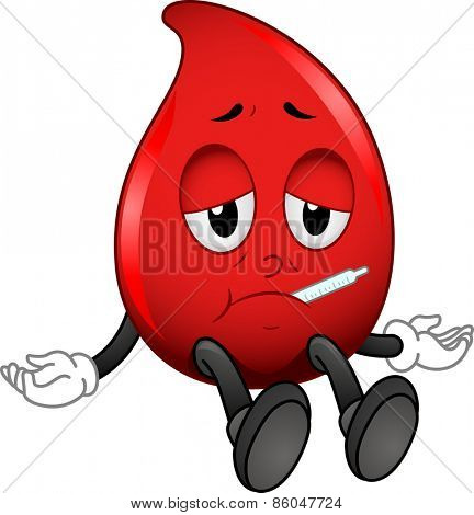 Mascot Illustration of a Red Blood Cell with a Thermometer Stuck on Its Mouth