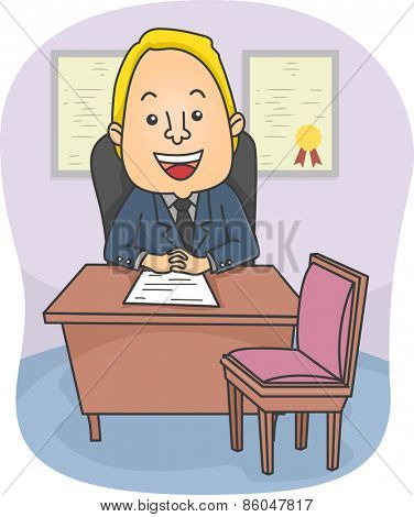 Illustration of a Friendly Male Counselor Sitting in His Office