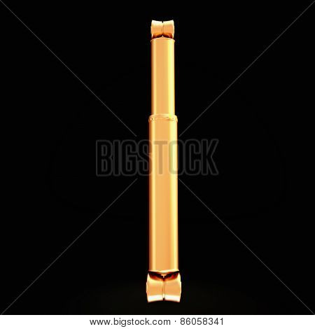 Golden Shock Absorber Isolated On Black Background.
