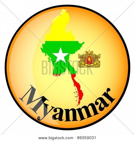 Orange Button With The Image Maps Of Myanmar