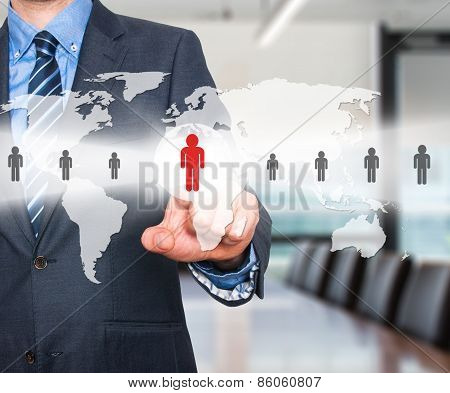 Businessman touching human resources sign - HR, HRM, HRD concept. World Map.