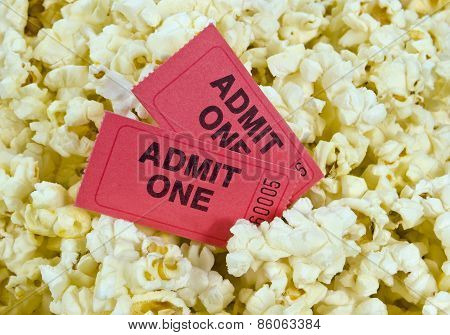Red Movie Tickets And Popcorn