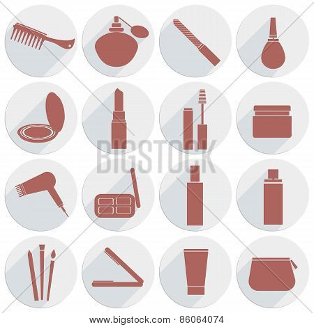 Set Of Icons Cosmetics In Flat Style
