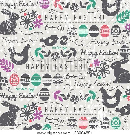 Background With Bunny, Easter Eggs, Flower, Chicks, Hen And Greetings Text Happy Easter.