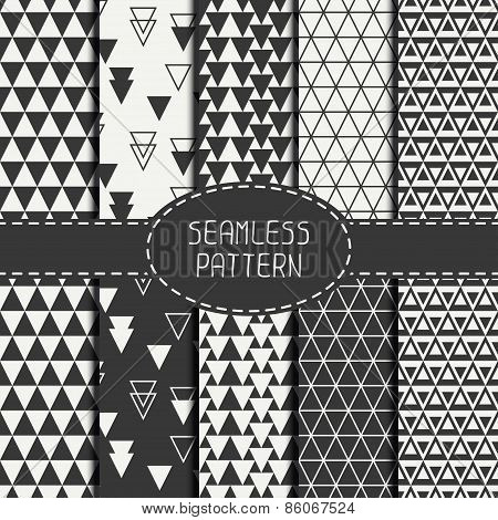 Set of geometric monochrome seamless pattern with triangle. Collection of paper for scrapbook. Beaut