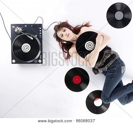 Lying Woman with Vinyl Turnaround and Records