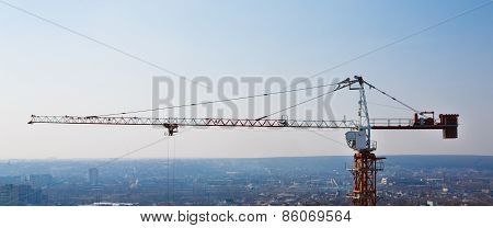 Tower Crane Silhouette At Construction Area