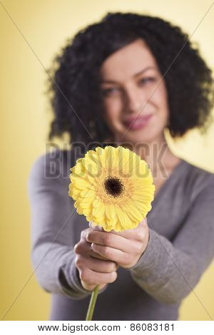 Happy girl being joyful holding a yellow flower, isolated on yellow background.