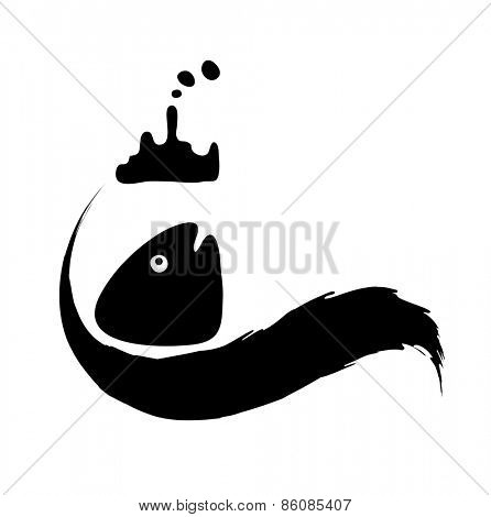fish in in polluted water, Water pollution concept, vector illustration poster