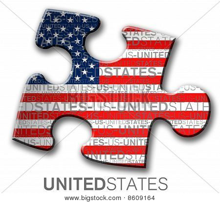 Piece of puzzle with the flag of the us
