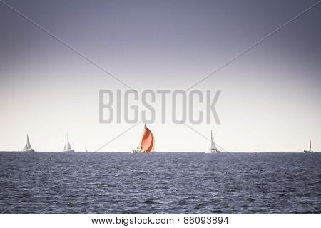 Red Yacht Sail