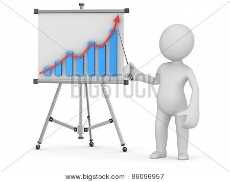 White Man Pointing Business Chart On Whiteboard