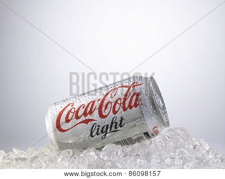 Kuala Lumpur-Malaysia : March 24,2015 Photo of a can of Coca-Cola light. The brand is one of the most popular soda products in the world and it is sold almost everywhere