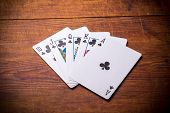 Poker. Combination Royal Flush clubs poster