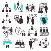 Teamwork icons set with sketch business people discussion organization and partnership scenes isolated vector illustration poster