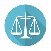 justice blue flat icon law sign  poster
