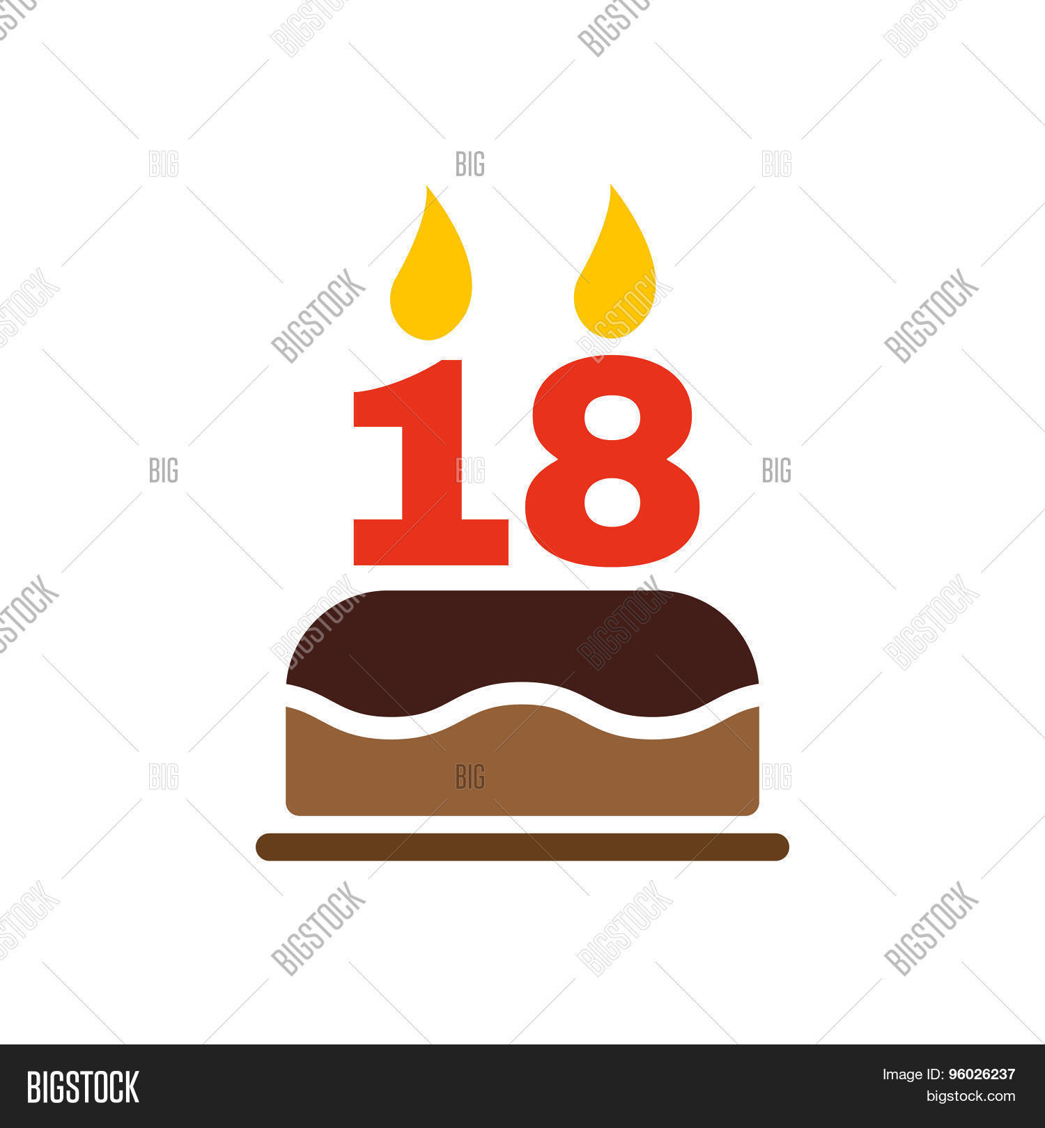The Birthday Cake With Candles In Form Of Number 18 Icon Symbol