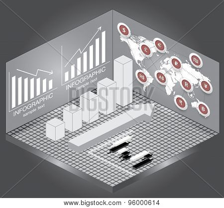 Isometric Chart And Graph Icons,map And Currency.