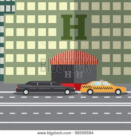 Flat Design Vector Illustration Concept For City Hotel And Parked Taxi And Limousine, Sityskape