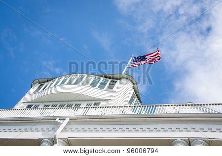 American flag flies above the Grand Hotel on Mackinac Island