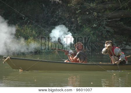Native American Musket Rifle from Canoe in War of 1812 Reenactment