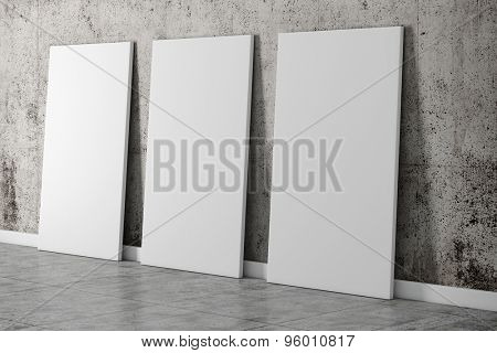 3d vintage interior setup with grunge wall and floor