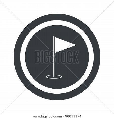 Round black flagstick sign