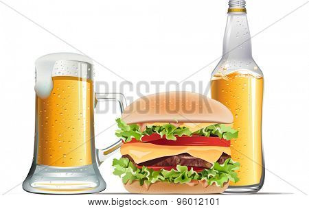Classic cheeseburger with beer on white background.