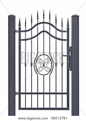 Forged Decorative Pedestrian Gate, Isolated Vertical Large Detailed Dark Grey Silhouette Closeup