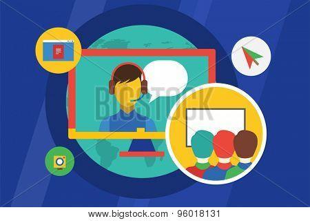 Webinar vector illustration. Education, meeting and communication symbols. Stock design elements