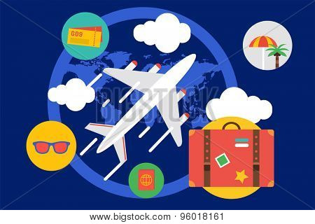 Travel by the plane vector illustration. Summer, Air and holiday symbols. Stock design elements