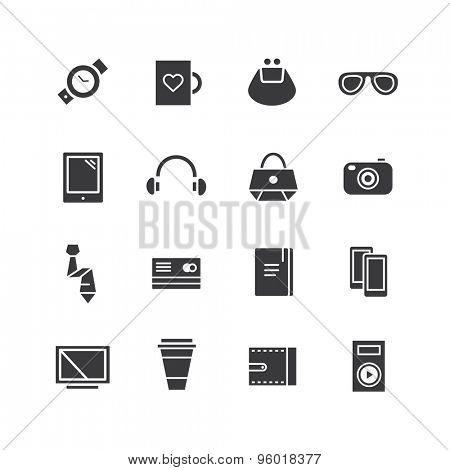 Mobile objects vector icons set. Mobile, electric and technic symbols. Stocks design elements.