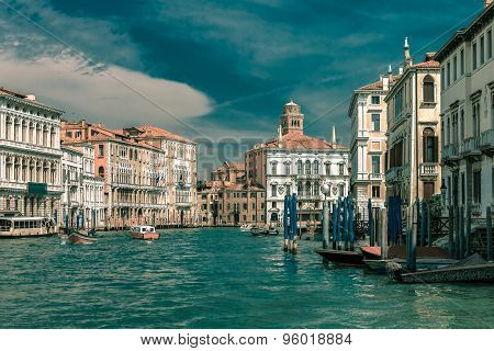 Grand canal in summer sunny day, Venice, Italy