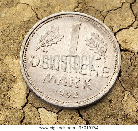 Old german coin of one deutsche mark poster