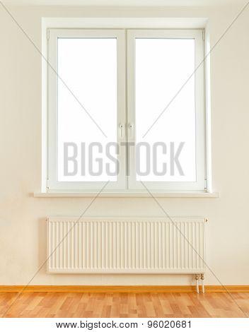White Plastic Double Window And Radiator
