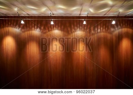 Big wooden empty wall with spot lights