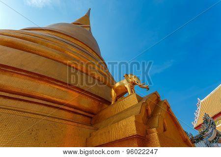 Golden Pagoda at Wat Bovorn (Bowon) Nivet Viharn in Bangkok Thailand poster