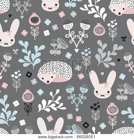 Seamless pastel girls spring hedgehog bunny and flower blossom garden illustration background pattern in vector