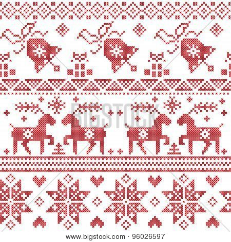 Christams Nordic Cross Stitch Pattern Including Reindeer, Snowflake, Star, Xmas Tree, Bell, Presents